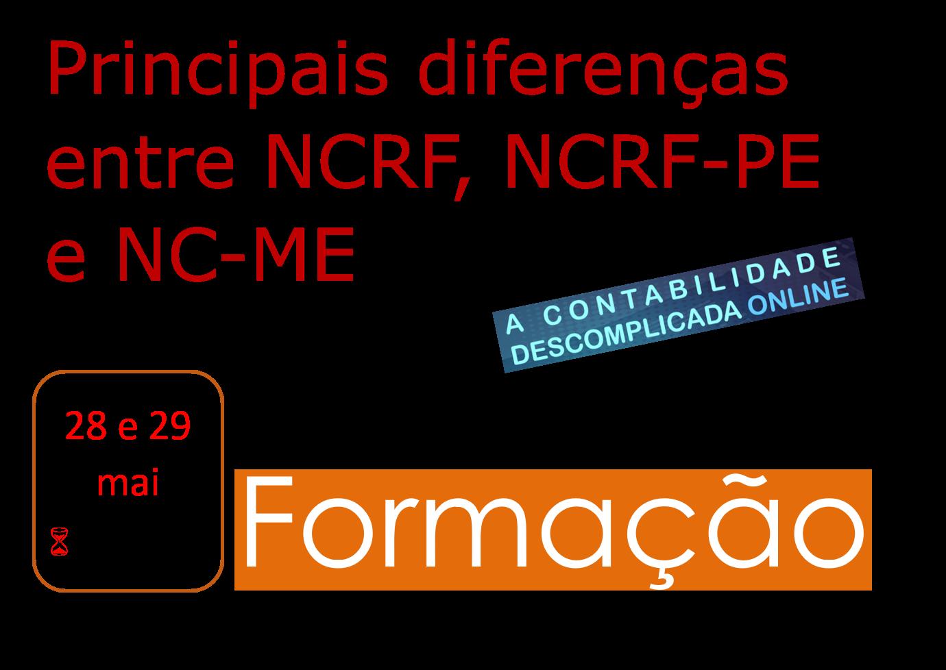 Principais diferenças entre NCRF, NCRF-PE e NC-ME - 28 e 29/mai